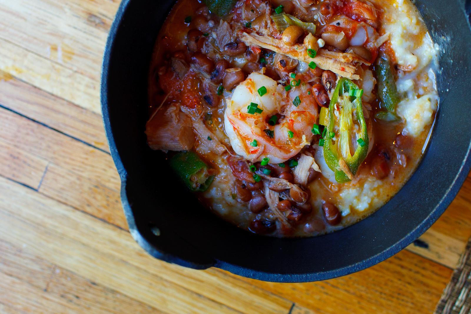 South Carolina shrimp grits with okra, tomatoes, sea island red peas and Virginia pulled pork ($14)