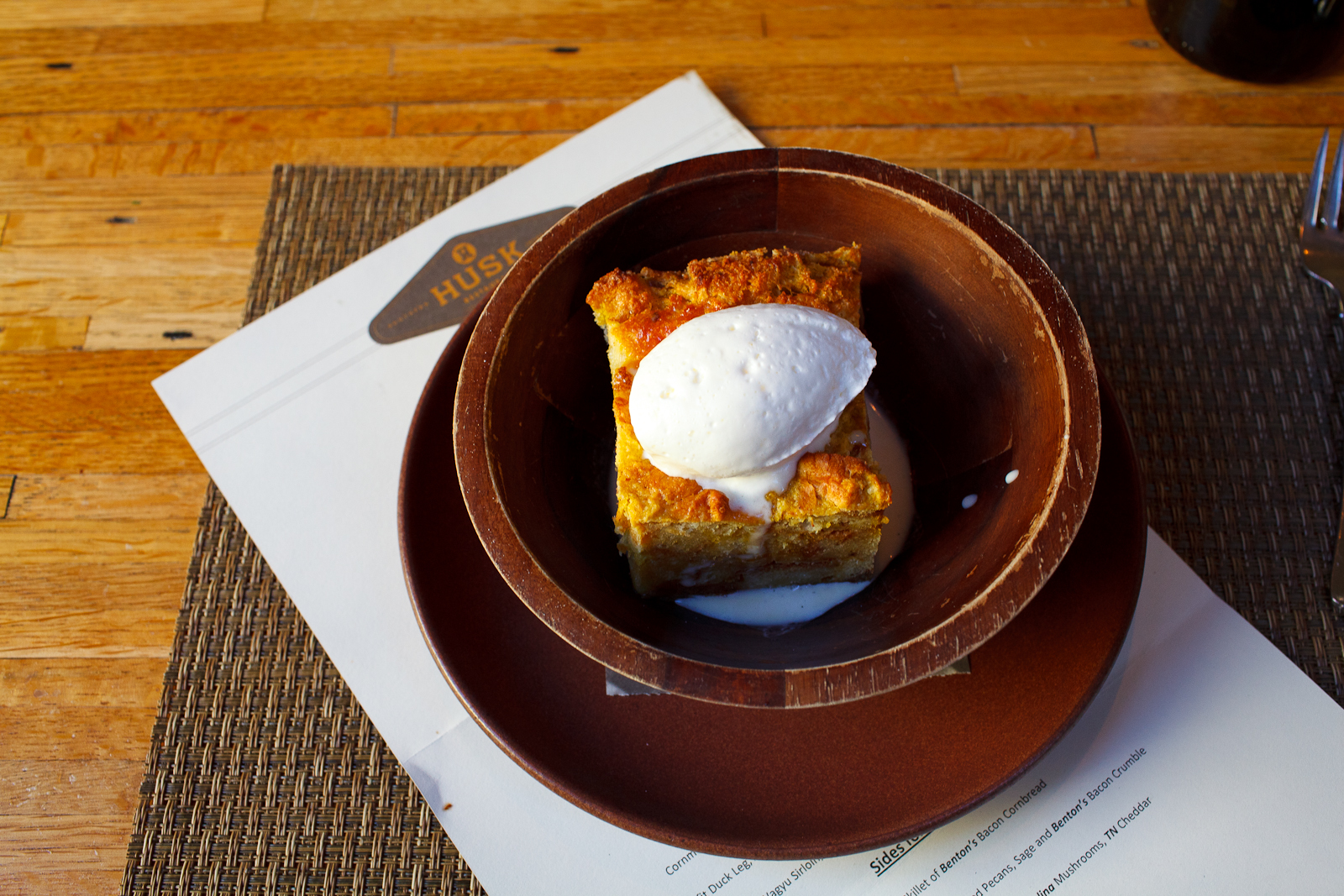 Heirloom pumpkin bread pudding, ginger anglaise ($7)