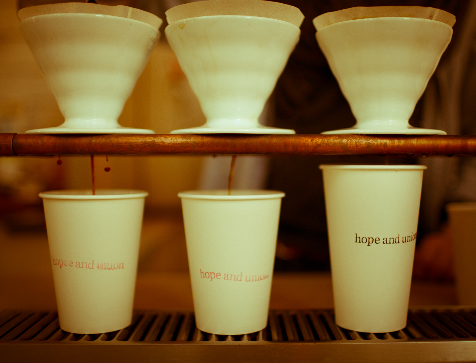 Three pour over coffees