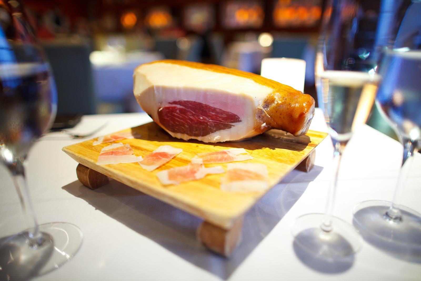 Snacks 3: Ossabaw ham aged at the restaurant