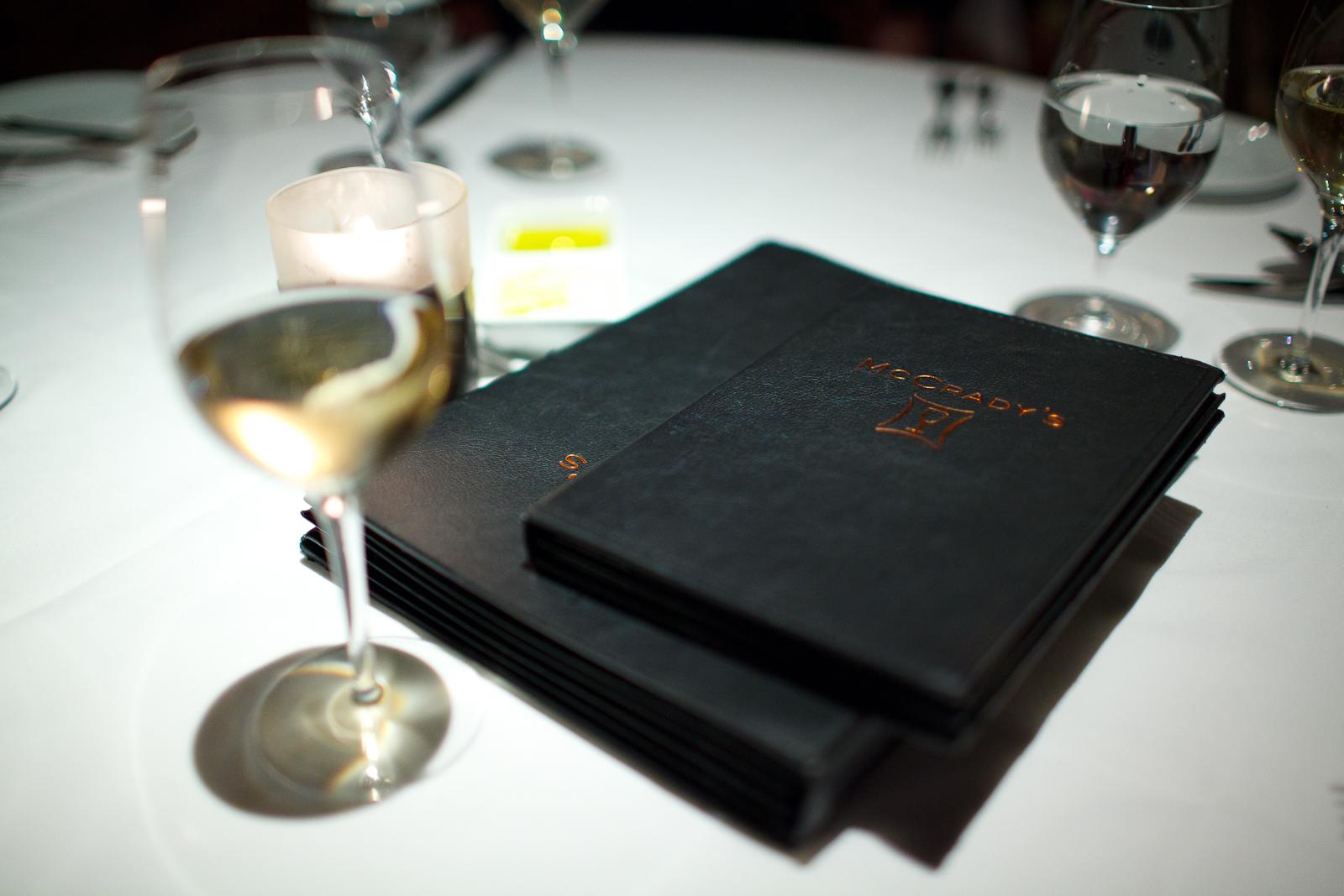 McCrady's wine and cocktail menu