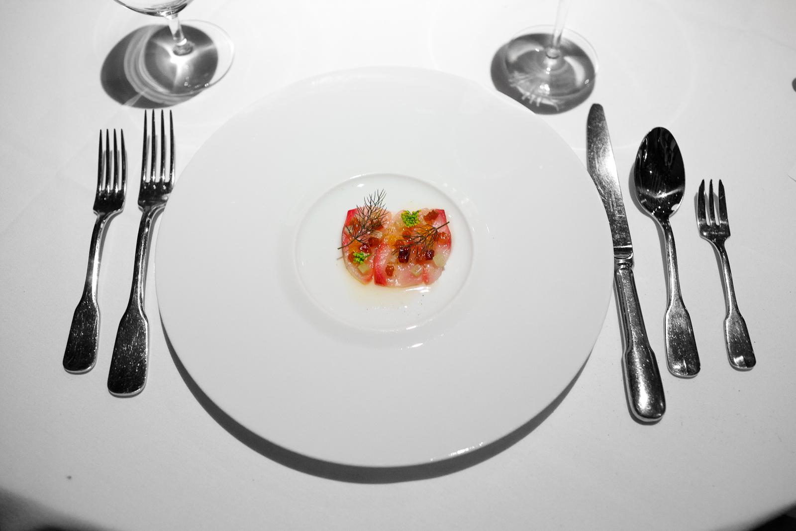 2nd Course: Hamachi crudo with compressed fennel, fennel fronds, and a lardo vinaigrette