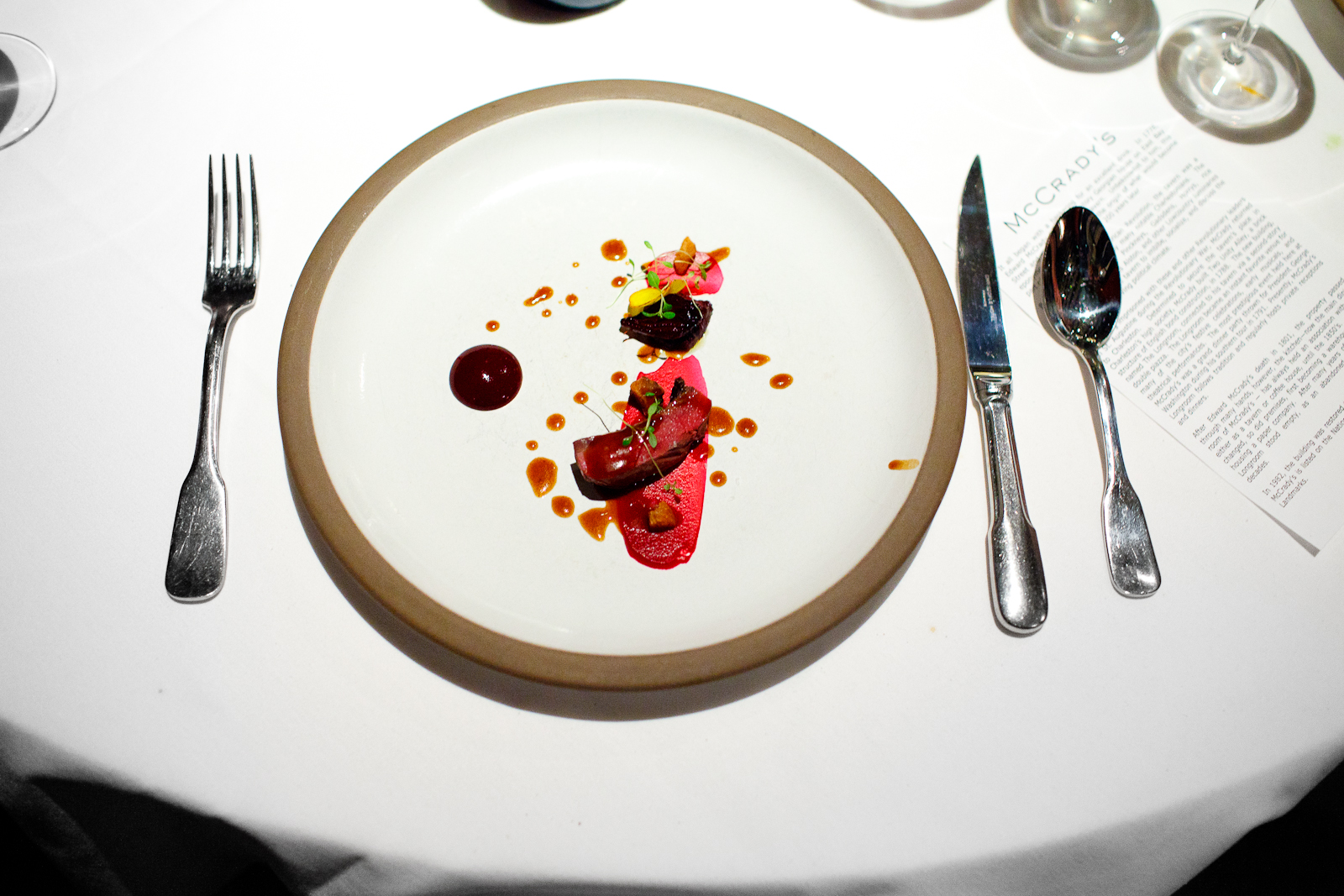 """7th Course: Aged """"shot by a hunter wild"""" wood pigeon cooked in hay, beets buried in embers, huckleberries"""