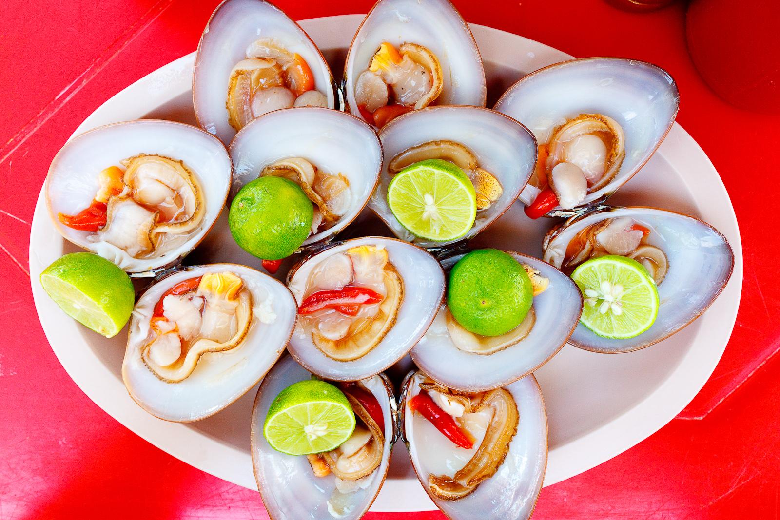 Almejas chocolatas (Live chocolate clams) (MXP $35)