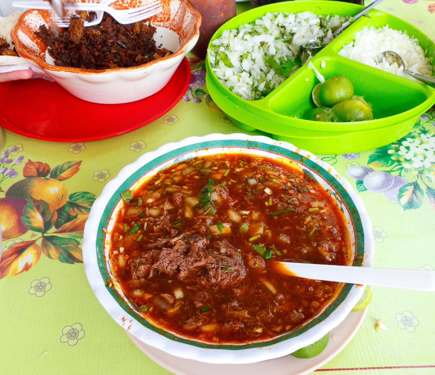Birria de lengua de res (Beef tongue stew) (MXP $55)Birria de lengua de res (traditional beef tongue stew) (MXP $55)
