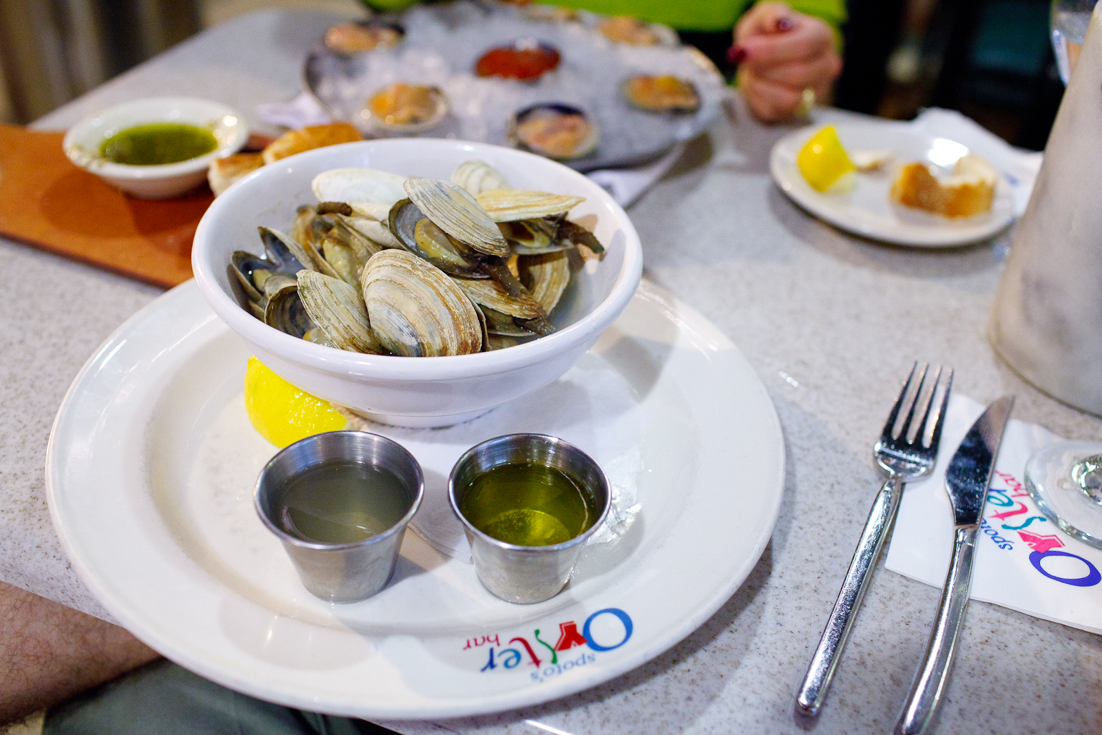 Maine steamers, ipswich clams, broth, butter ($12.95)