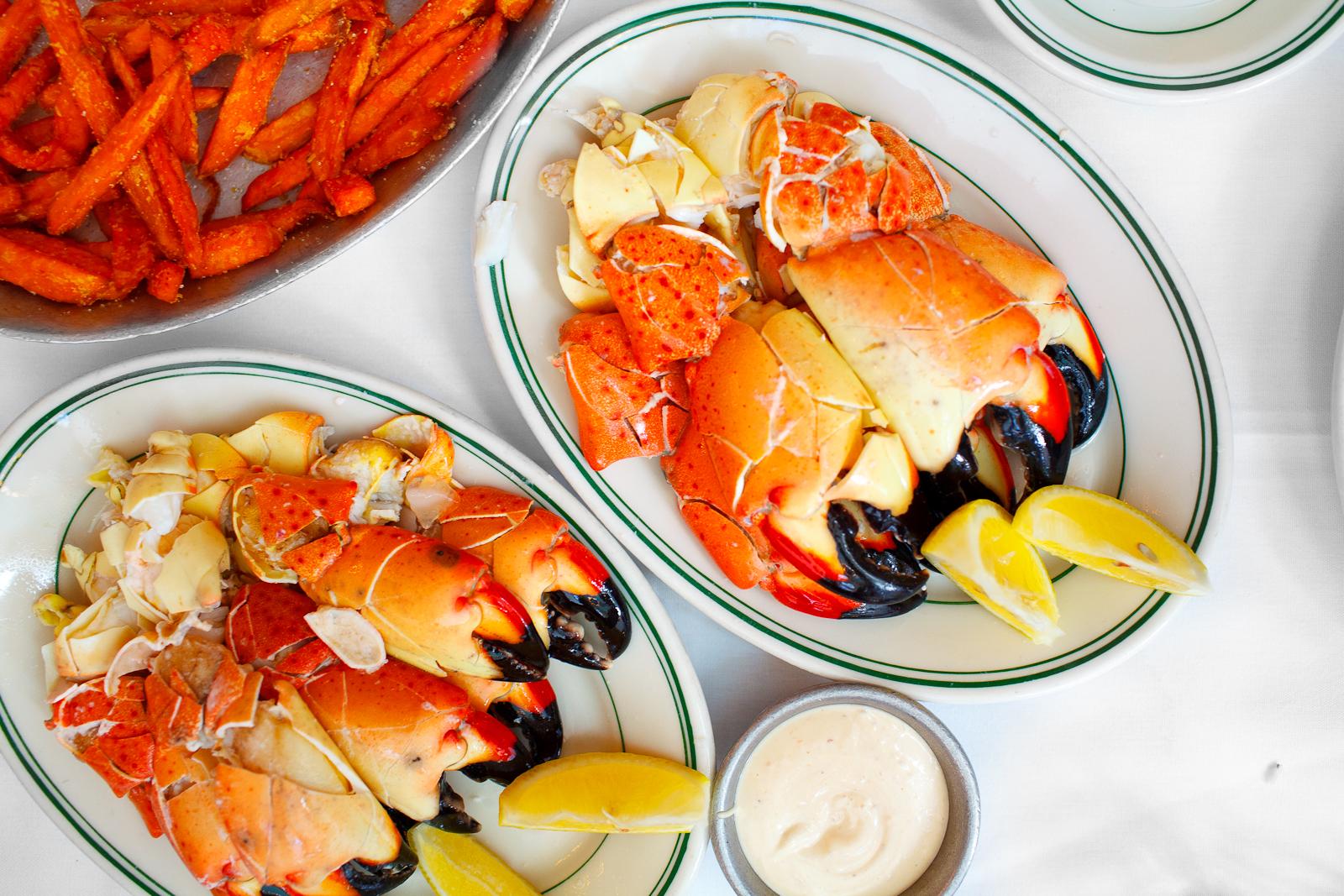 Large stone crabs ($48.95) and medium stone crabs ($25.95)
