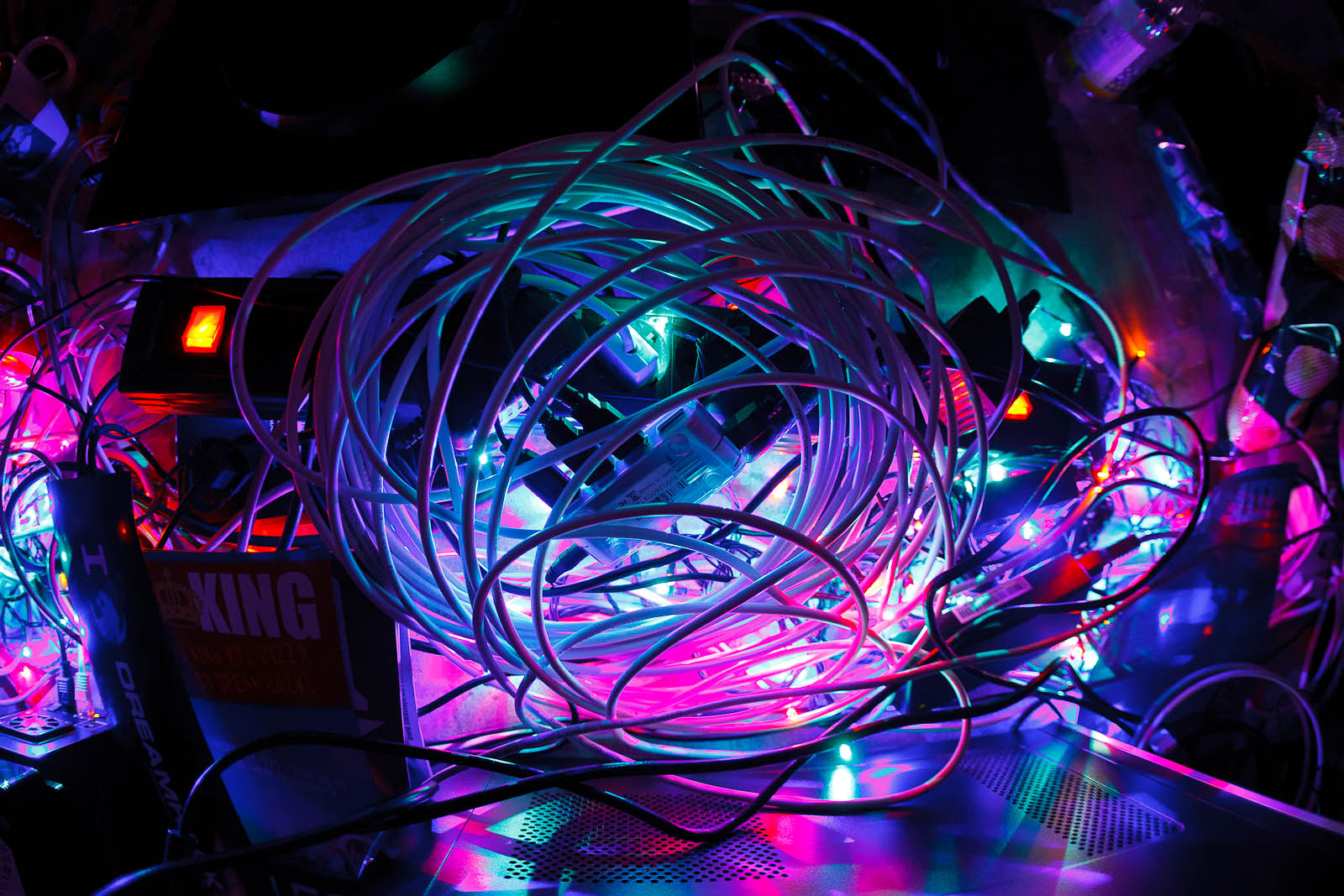 Bundle of wires and lights