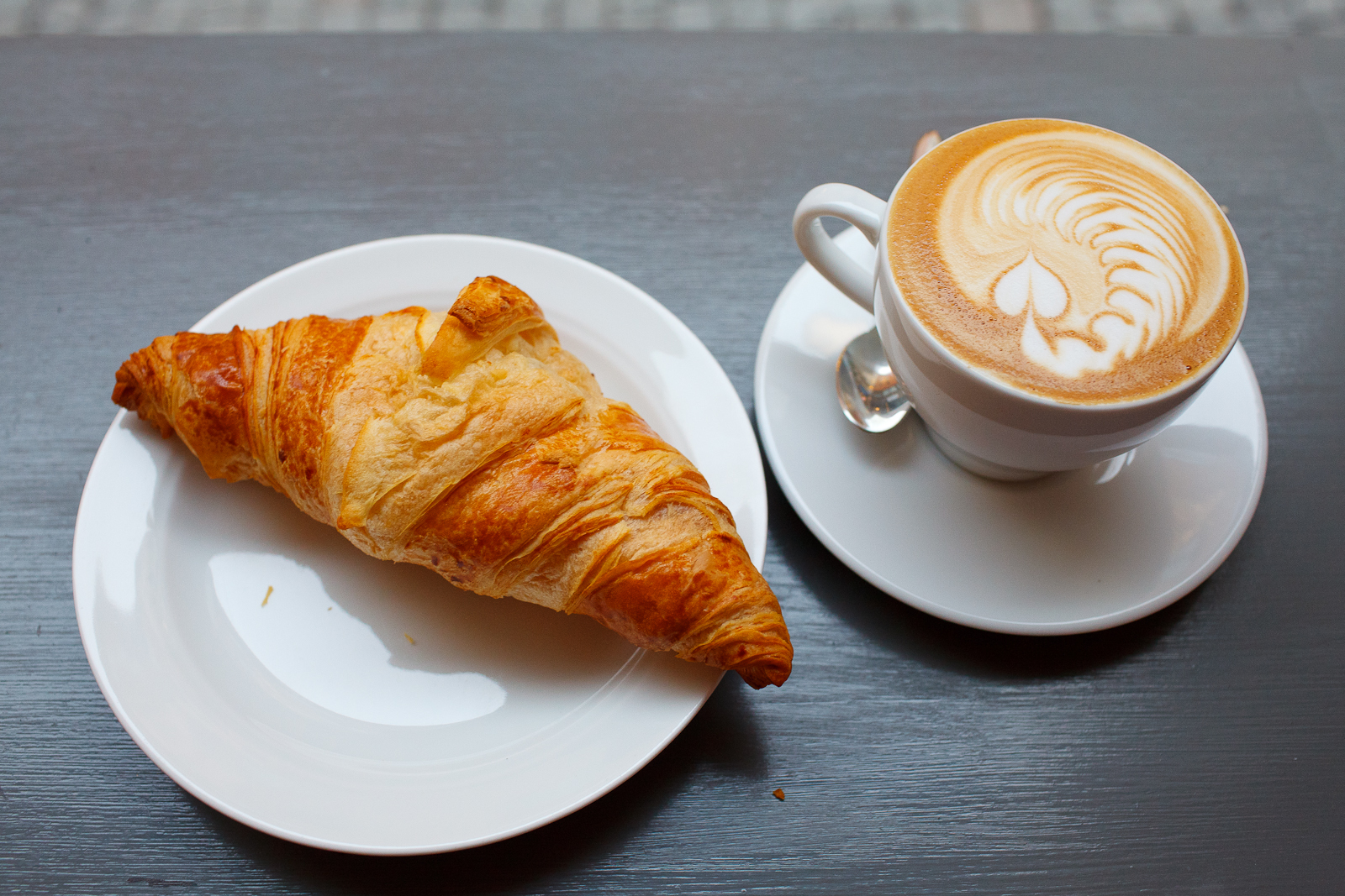 Croissant and a cappuccino
