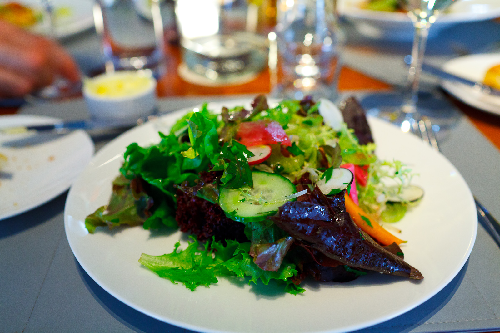 Baby lettuces, marinated vegetables, herbs, Champagne vinaigrette ($11)