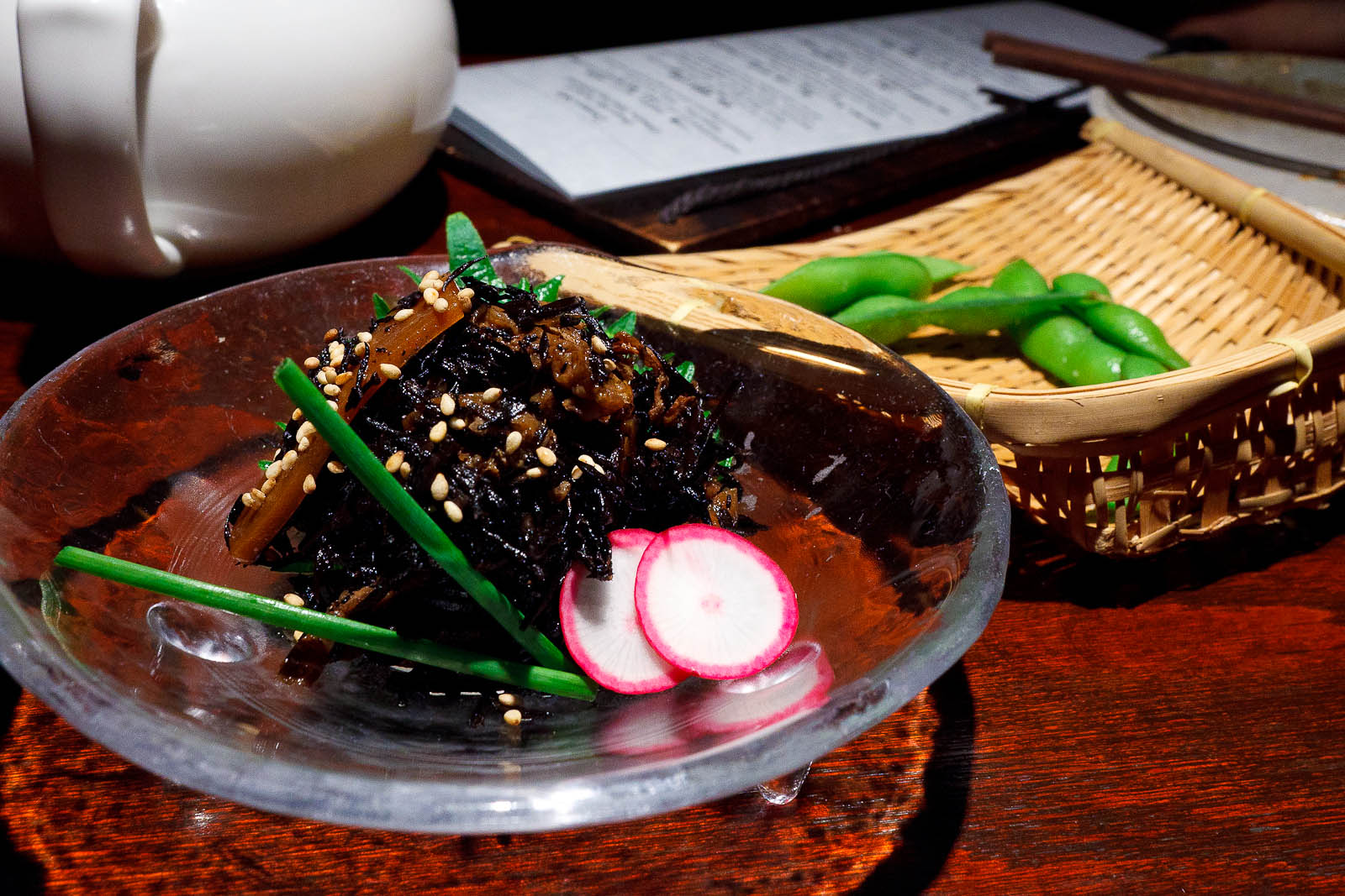 Hijiki: Japanese seaweed simmered in sweet sake and soy sauce ($4.95)
