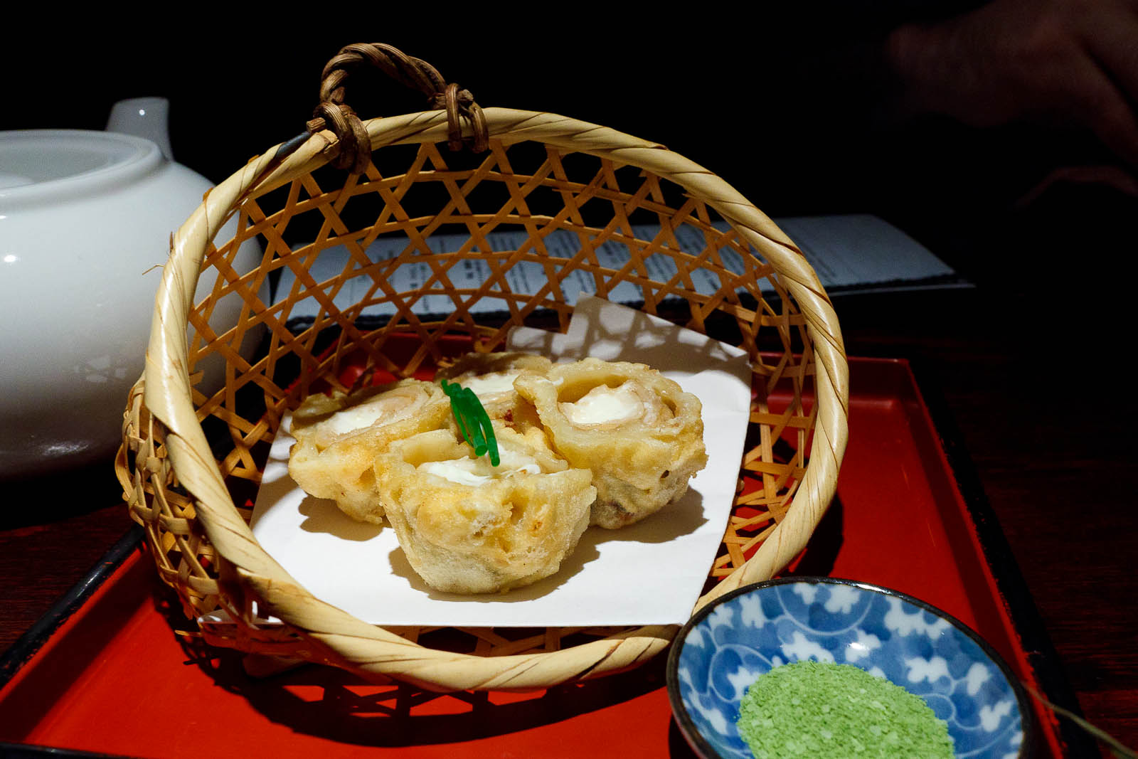 Anago & cream cheese tempura: cream cheese wrapped with soft seawater eel ($9.95)