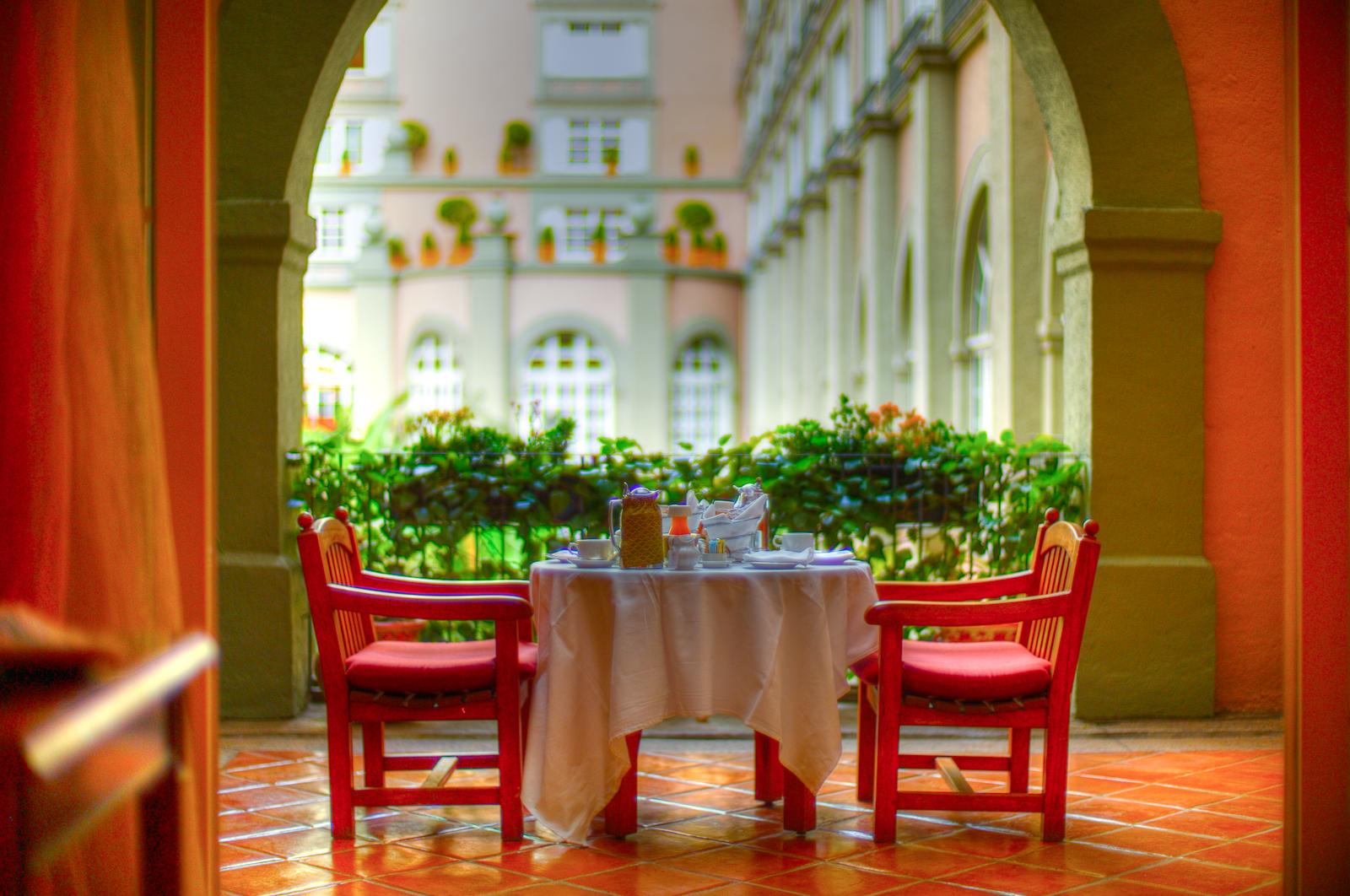 Room service breakfast on the terrace