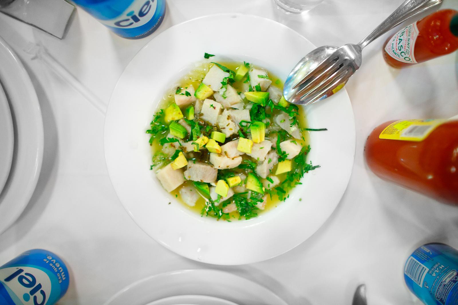 Ceviche de pescado (white fish ceviche with avocado)