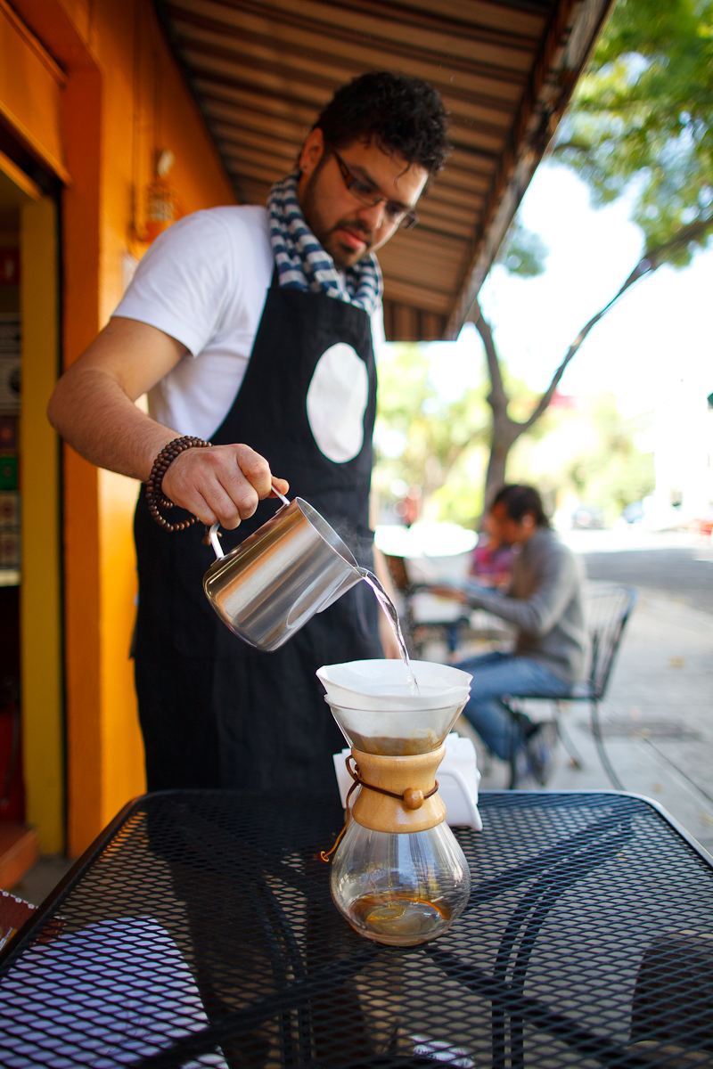 Chemex coffee, poured tableside (50 MXP)
