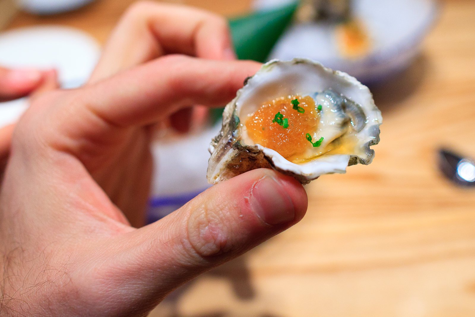 Ostiones con salsa Nobu (oysters with nobu sauces), up close (140 MXP)