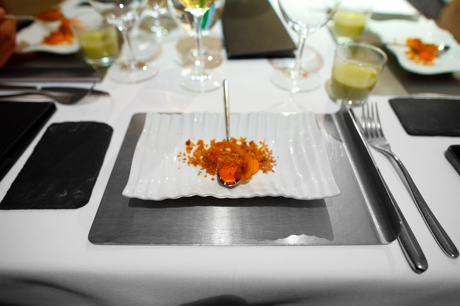 "Amuse bouche: A Spanish ""salmorejo"" deconstructed with a glass of squash soup"