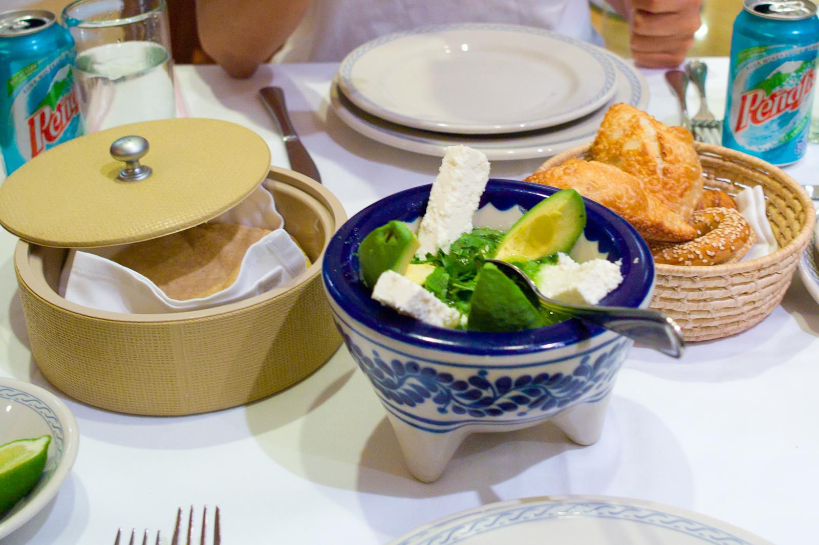 Avocado, queso fresco, salsa verde with fresh corn tortillas