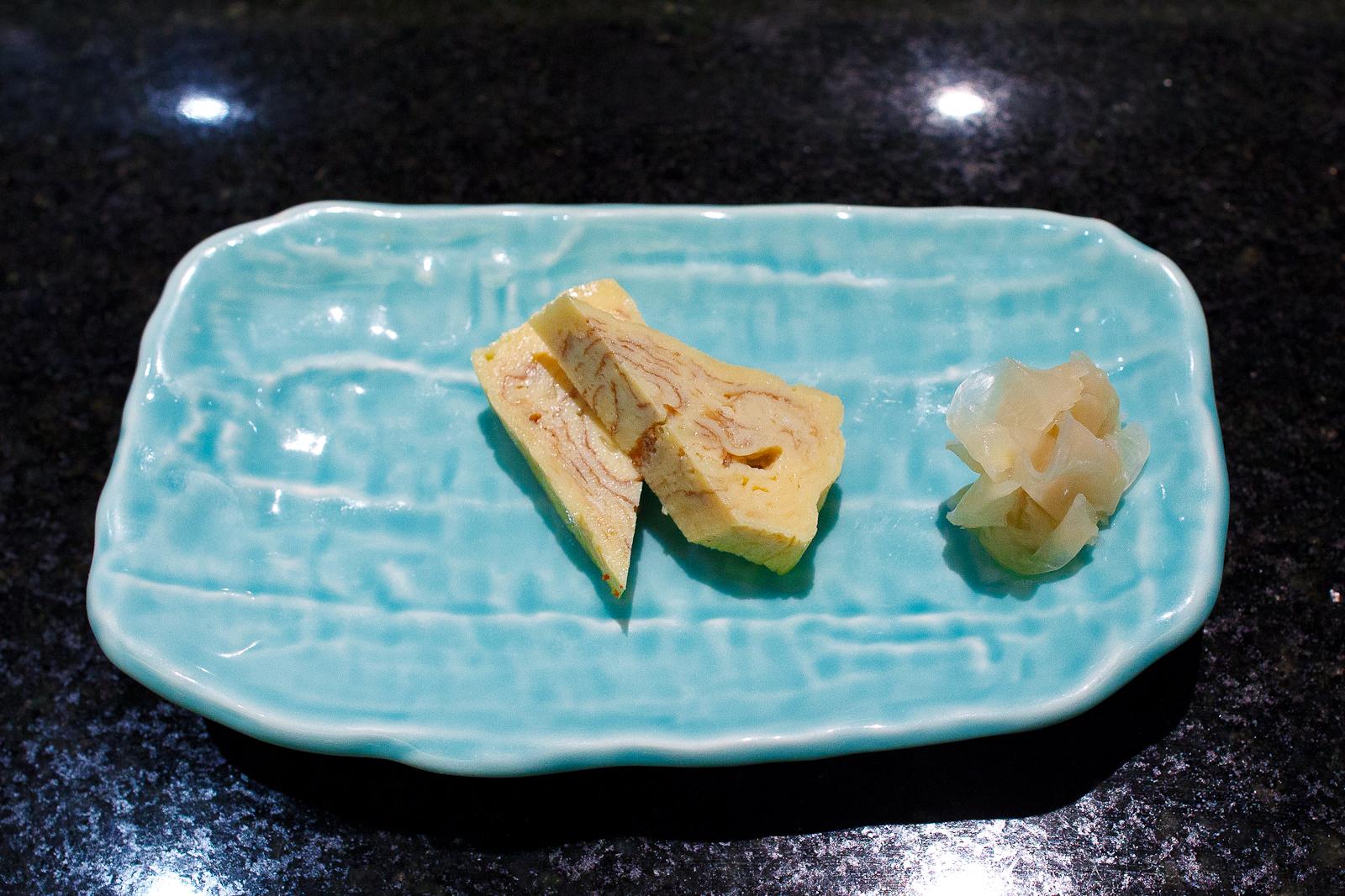 Tamago sashimi (sweet egg)