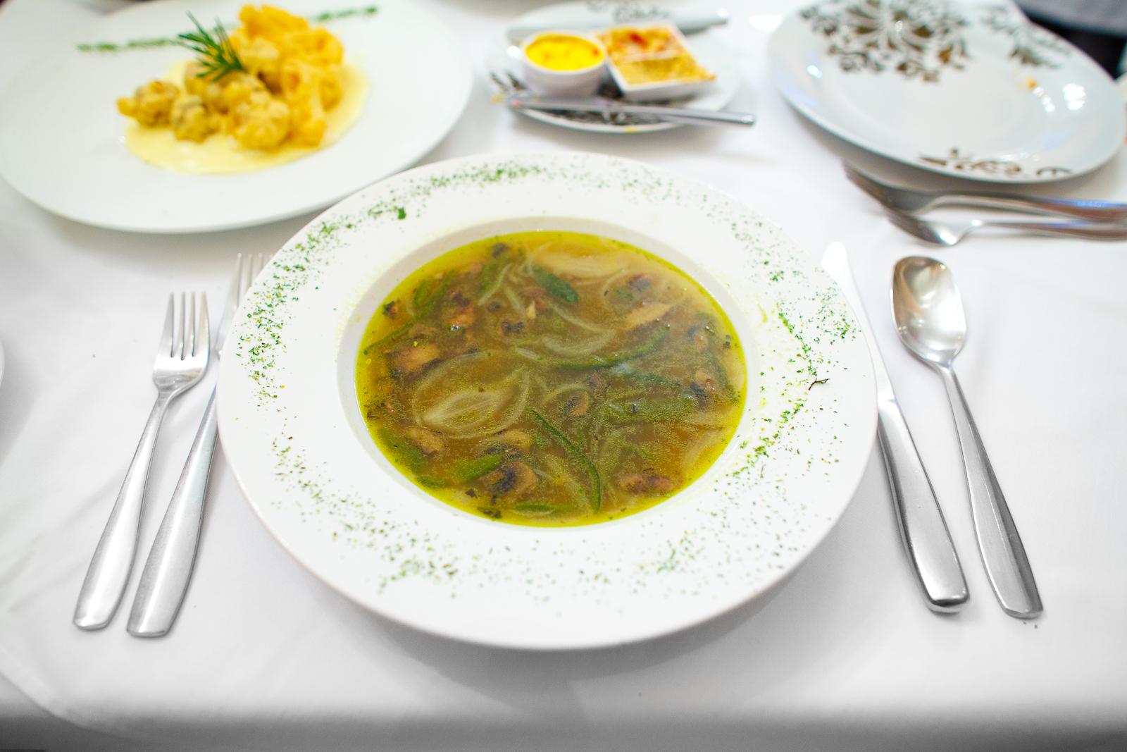 Sopa de los ángeles - chile poblano, champiñón y granas de elote (soup of the angels with poblano pepper, mushroom, and corn kernels) (69 MXP)