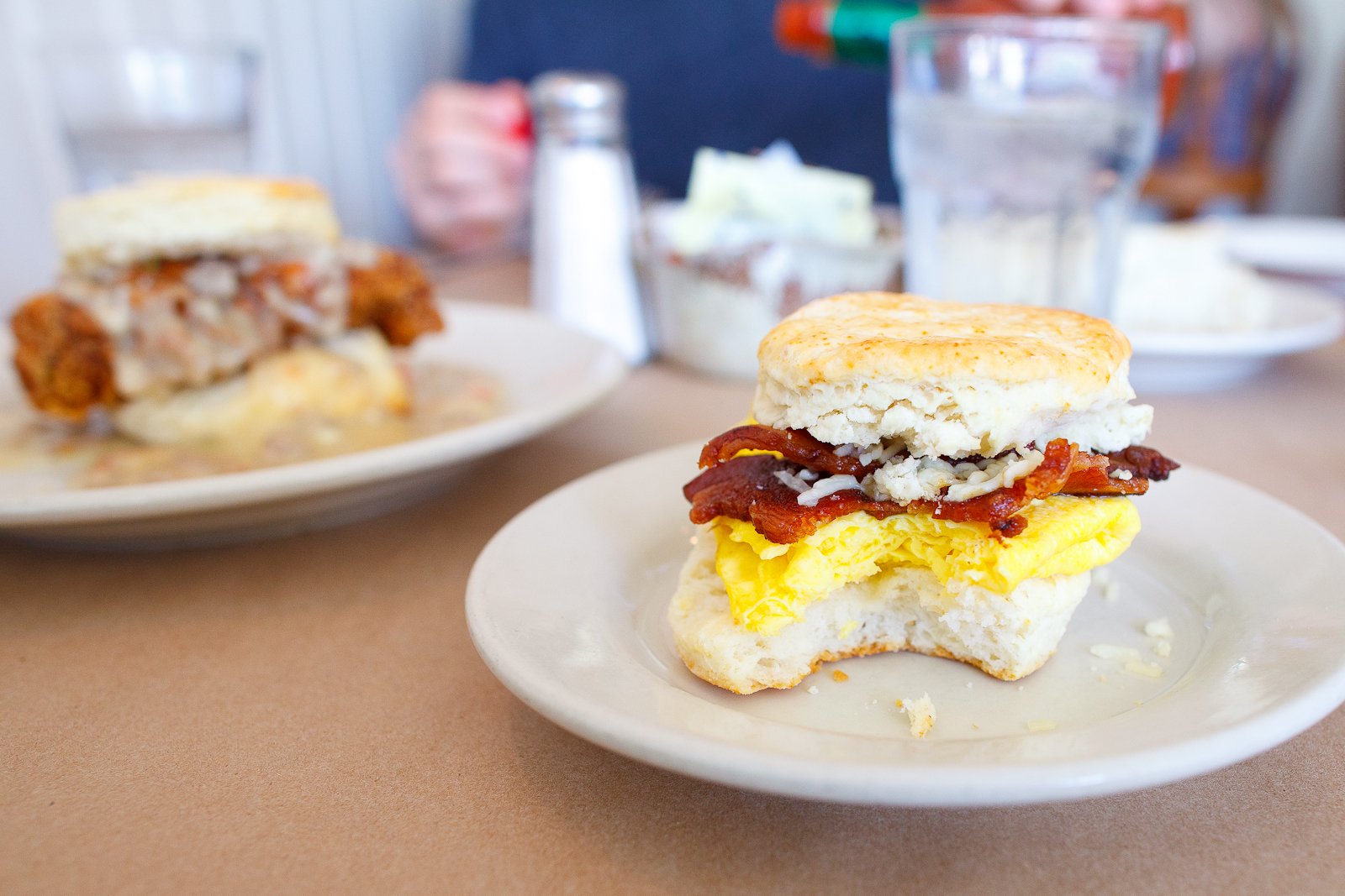 Egg biscuit with cheese and double-cut bacon ($6)