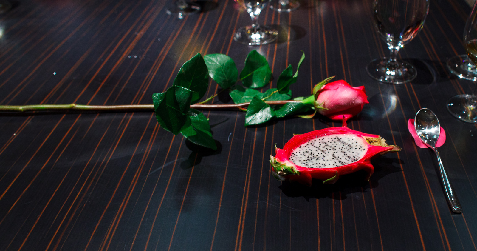 8th Course: Dragon fruit with rose