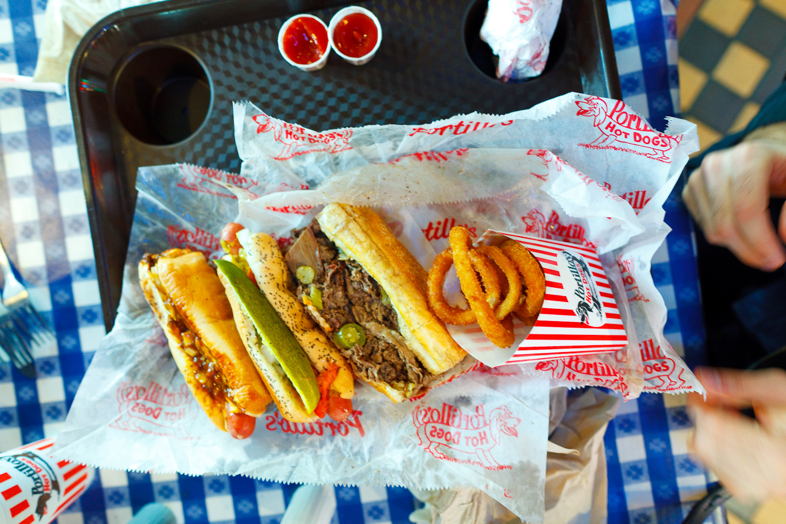 Chili cheese dog, hot dog with everything, Italian beef sandwich, onion rings