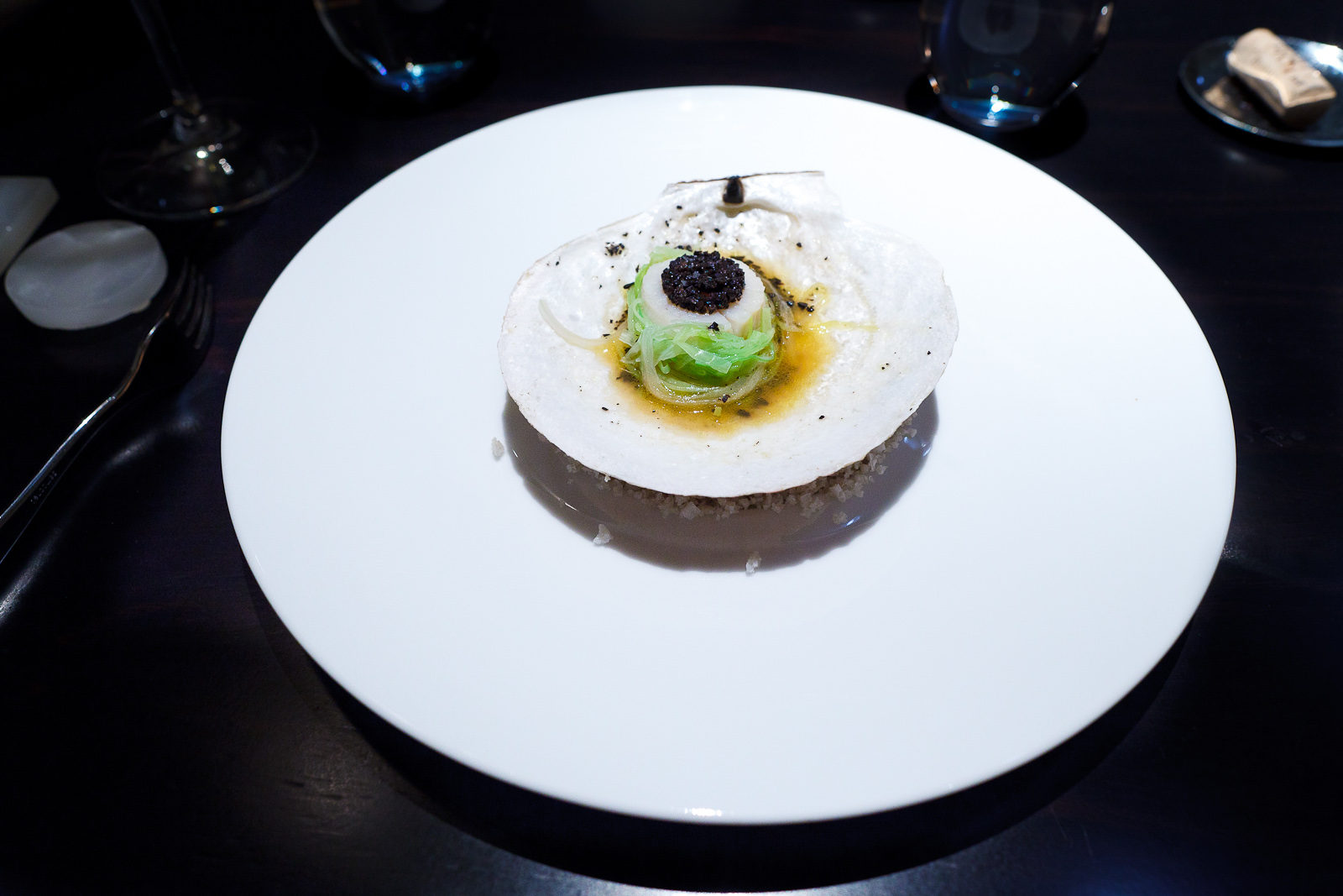 2nd Course: Hand harvested Maine scallop cooked in the shell, leeks, black truffle