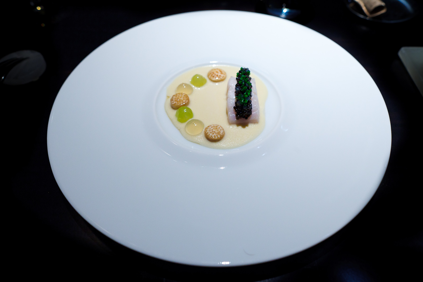 4th Course: Lubina, caviar, goldenrod grapes