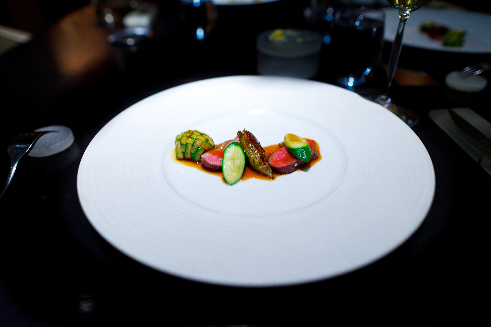 6th Course: Lamb loin, zucchini lattice, sweetbreads, squash blossom
