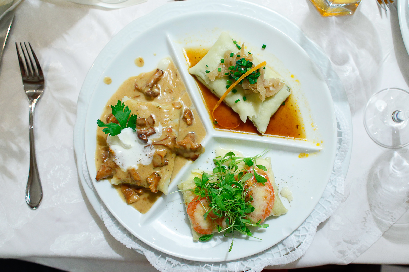 3rd Course: Variation of maultaschen, filled pasta squares