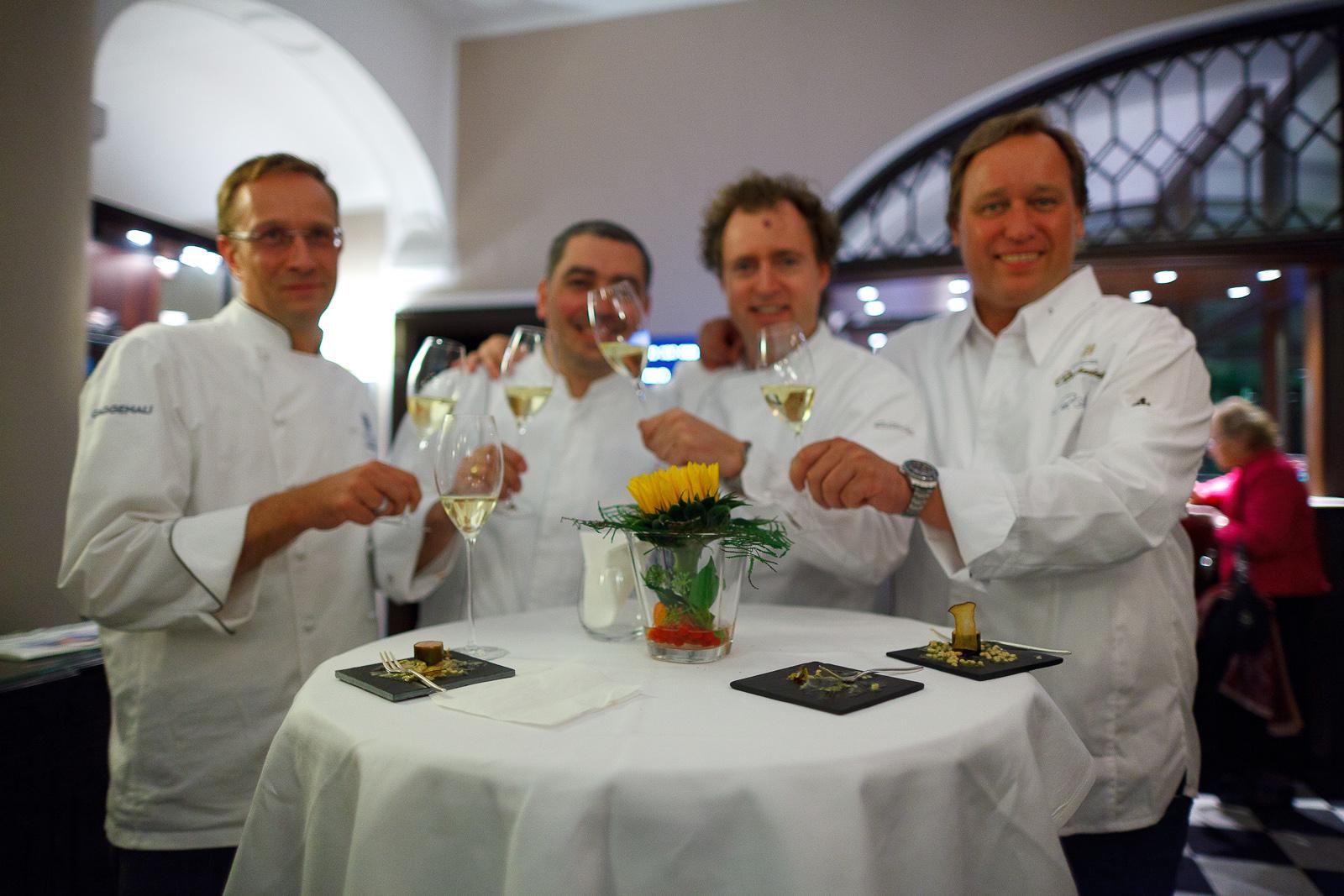 Chefs Nils Henkel (Schlosshotel Lerbach), Christian Bau (Schloss Berg), Sven Elverfeld (Aqua), and Thomas Bühner (La Vie)