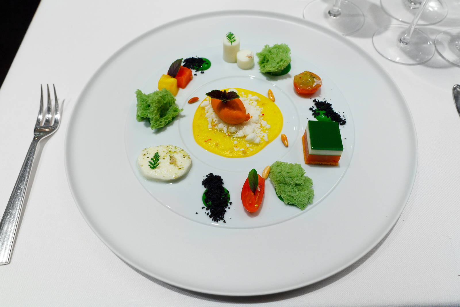 2nd Course: Summer tomatoes, buffalo mozzarella, basil, tomato tea, by Nils Henkel