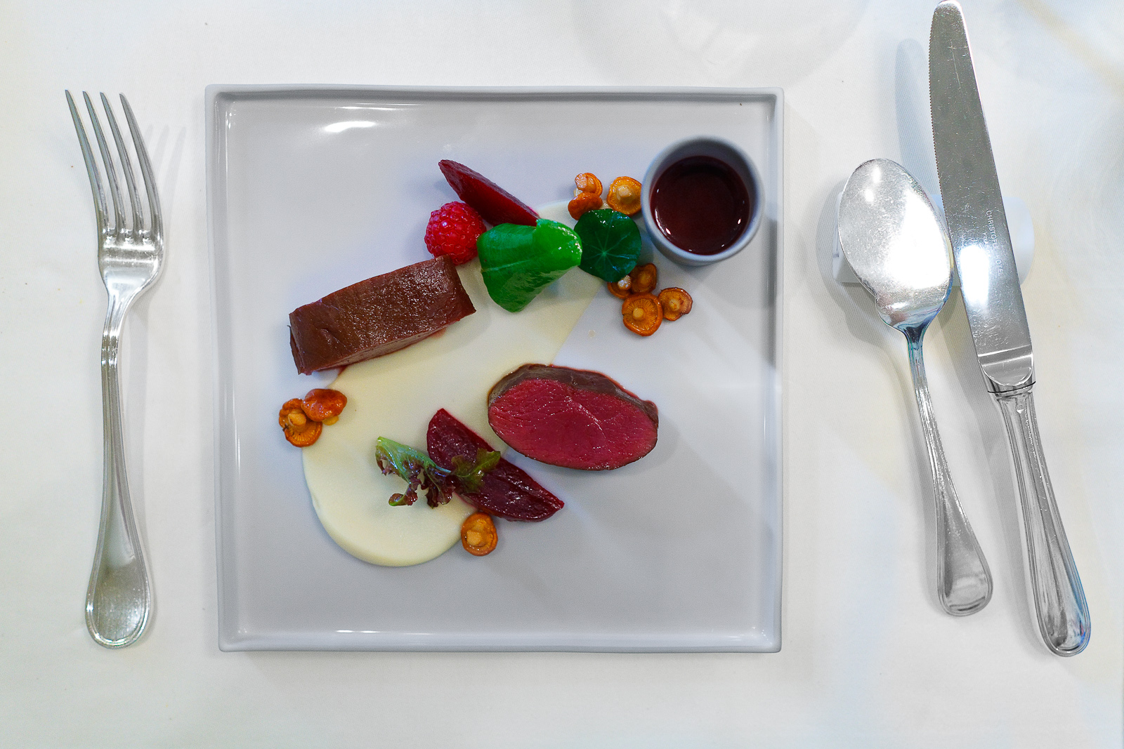 """4th Course: """"Pure vension"""" - venison, juice, beet root, mushroom, """"earth"""""""