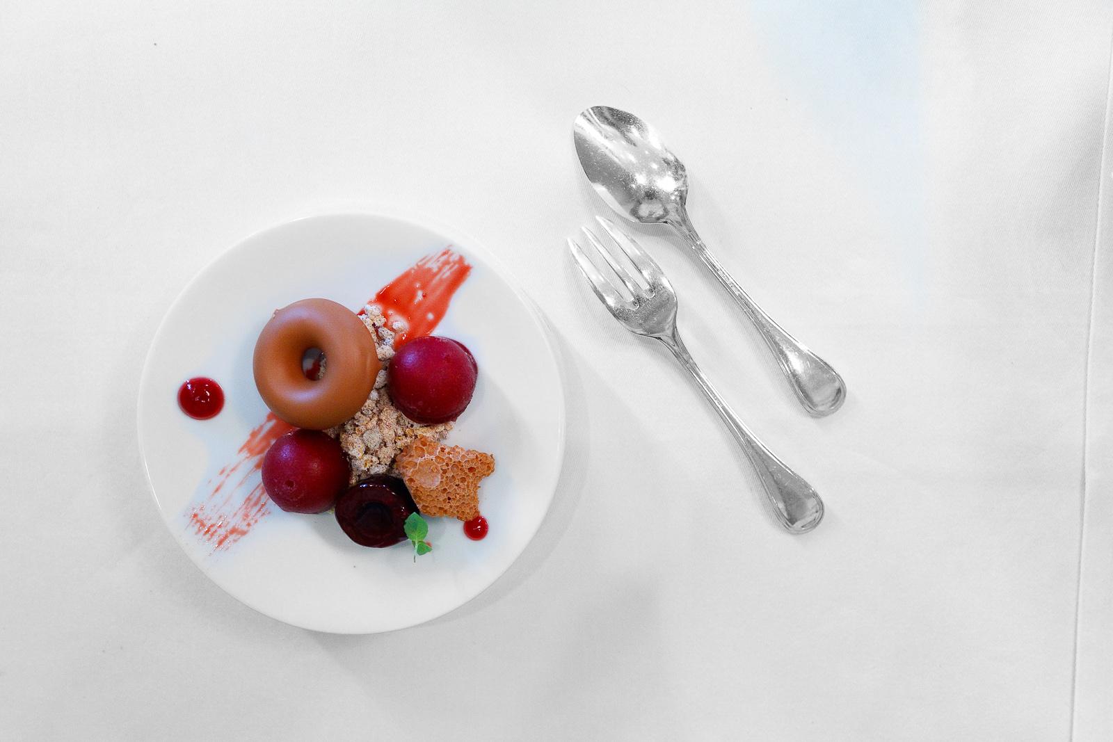 5th Course: Tanariva lactée, airy - liquid - solid, marinated cherries, caramelized quinoa
