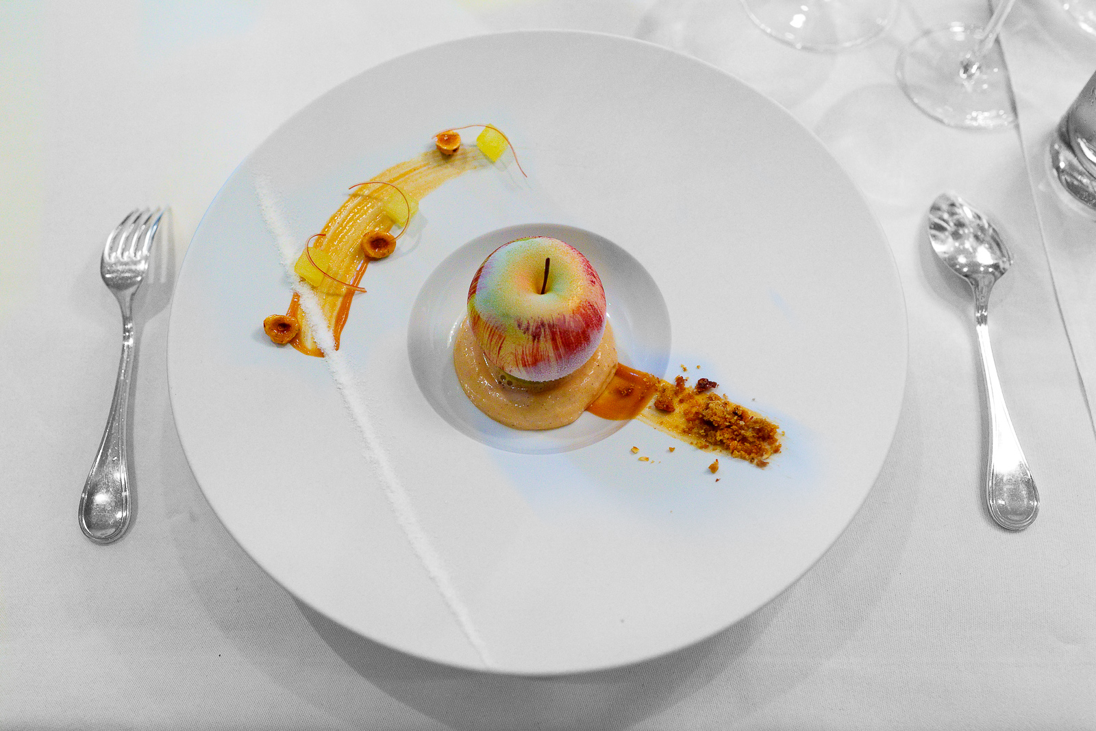 6th Course: Gravensteiner apple, warm - cold - ice cold, hazelnut cookies, yoghurt, and powder