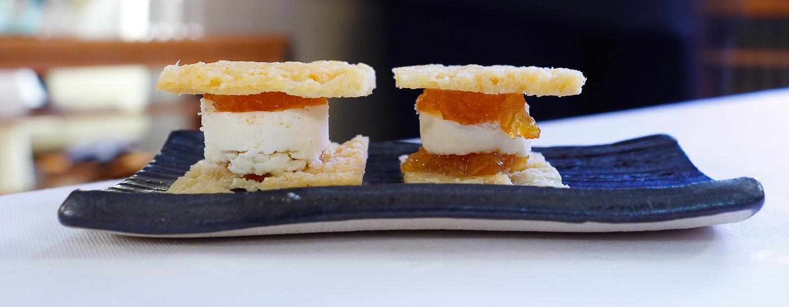 Amuse Bouche 1: Parmesan crust with yuzu confiture