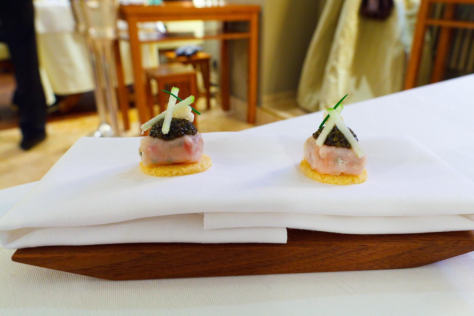 Amuse Bouche 4: Majorcan gamba with lardo and caviar