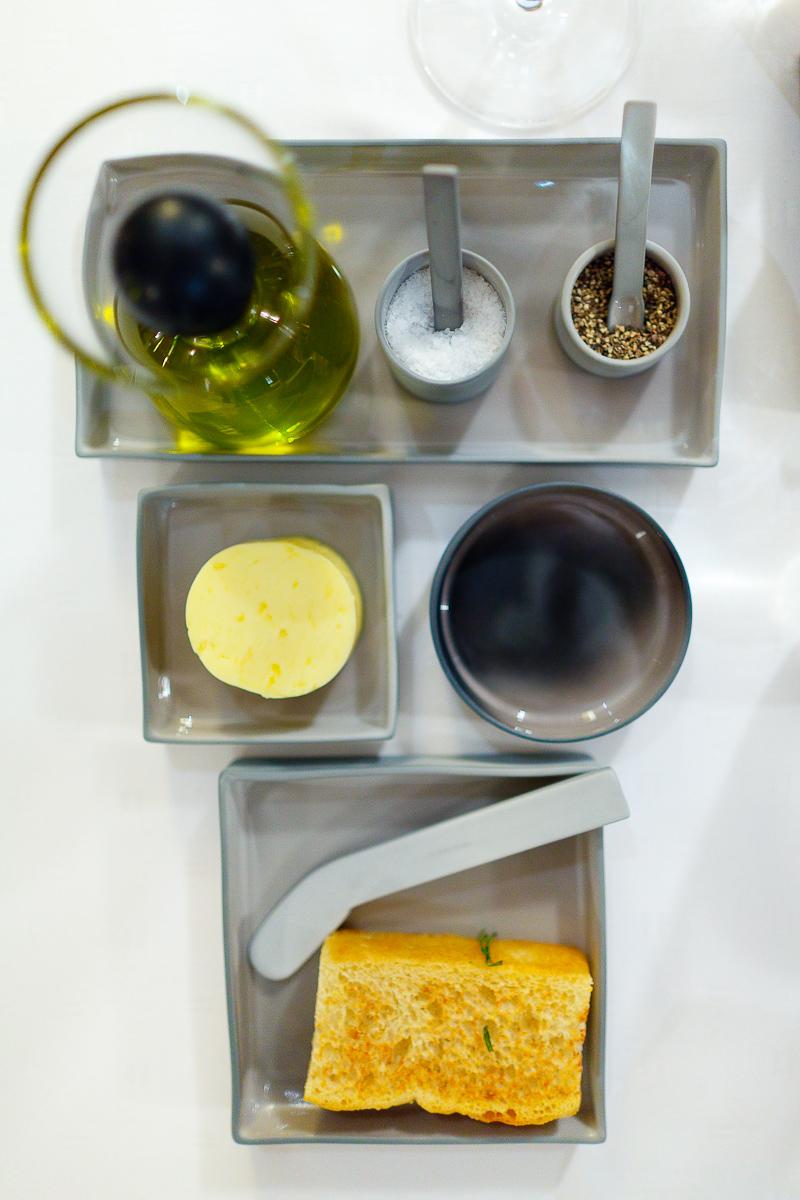 Olive oil, salt, pepper, and butter