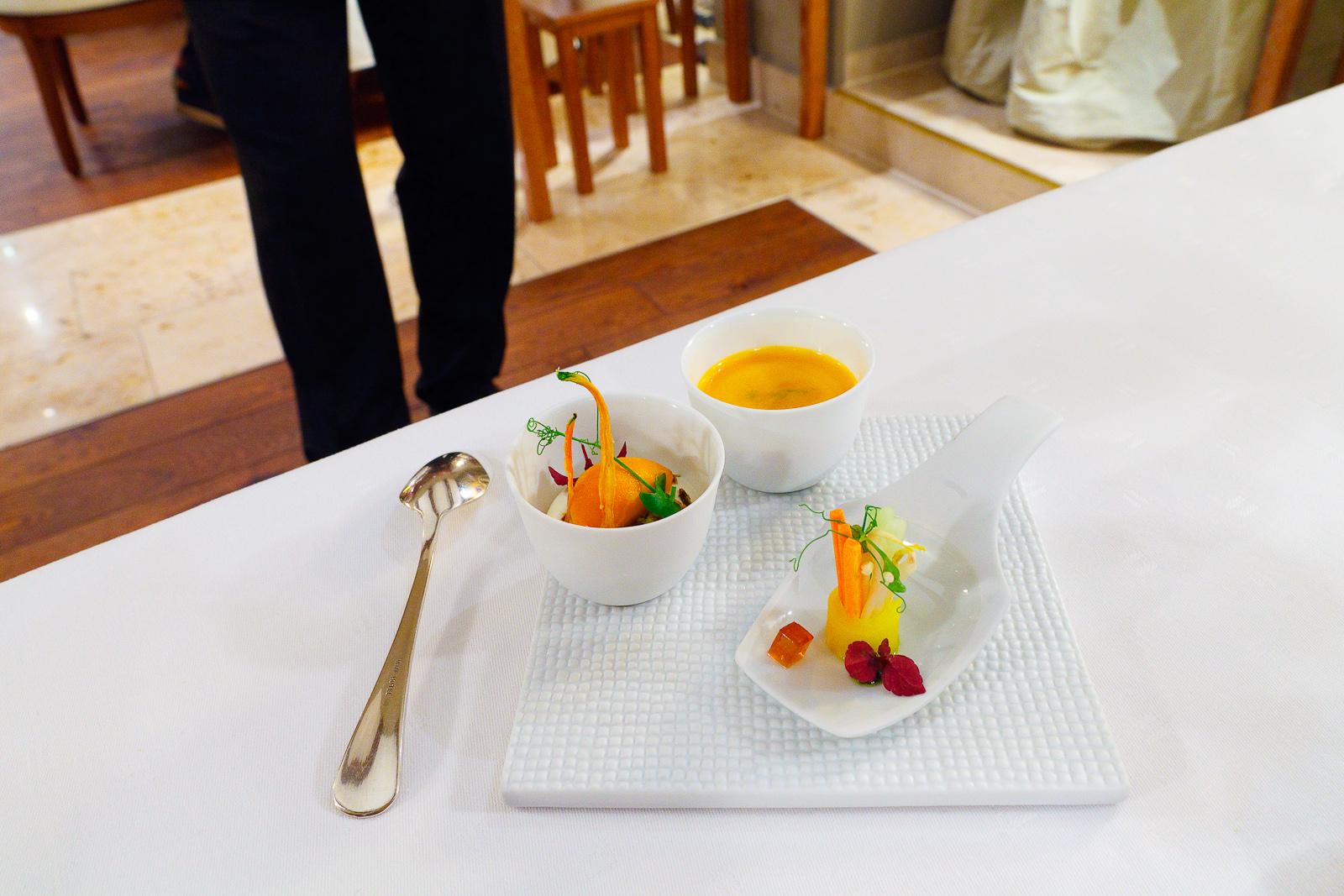 Amuse Bouche 8: Bio-carotte with yogurt and coriander