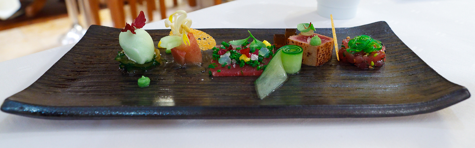 Amuse Bouche 9: Bluefin tuna with miso, soy, and cucumber
