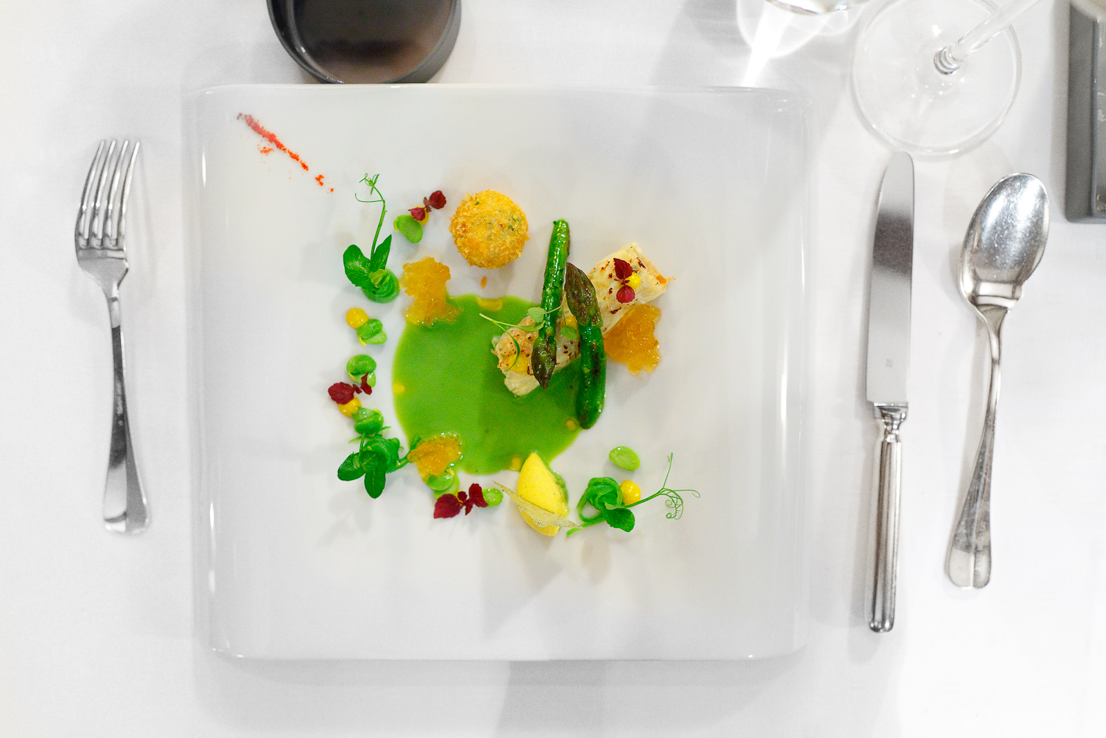 """2nd Course: """"Sea spider"""" - Milk skin, green vegetable juice, curry, chrysanthemums"""