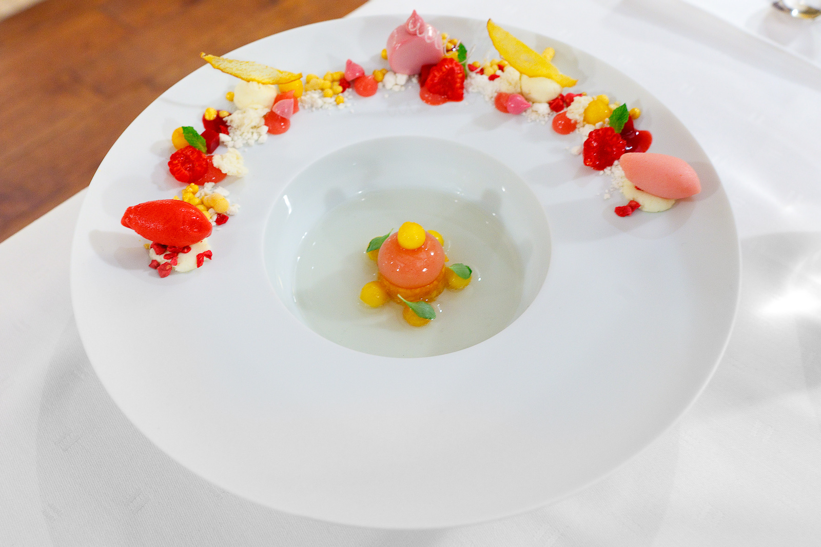 """9th Course: """"Champagne Bellini"""" - """"Structures"""" of peach, raspberry, and champagne"""
