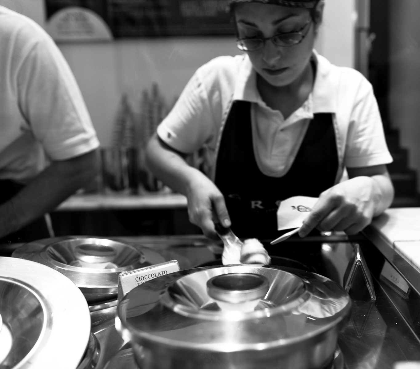 Scooping gelato, almost like a soft quenelle