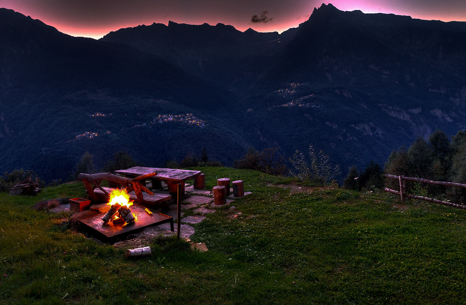 Our final dinner in Presalbert will be outside over a roaring fire, the mountains as our backdrop, cooked by Curtis Duffy