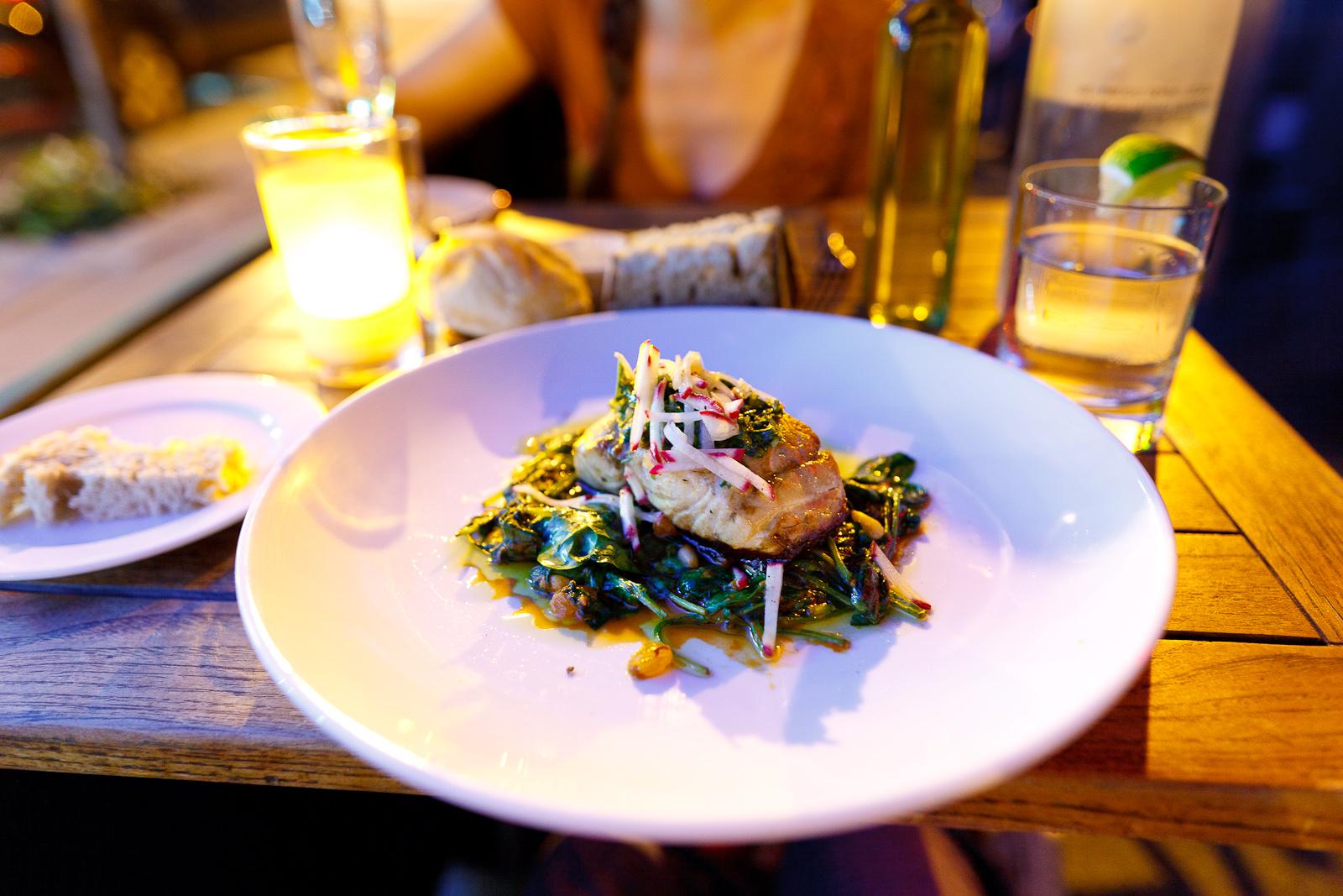 Montauk bluefish - harissa, spinach, pine nuts, golden raisins and gremolata ($24)