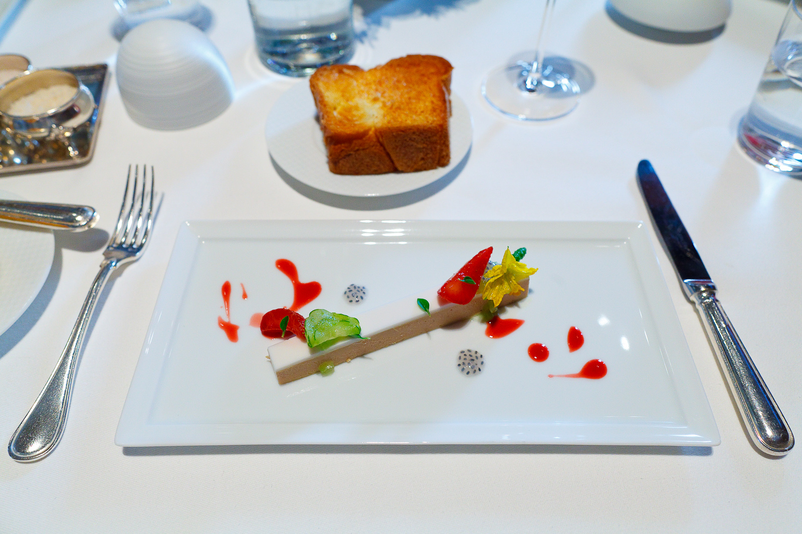 "3rd Course: Moulard Duck Foie Gras ""En Terrine,"" French Laundry Garden Strawberries, Cucumber, Young Coconut and Greek Basil"
