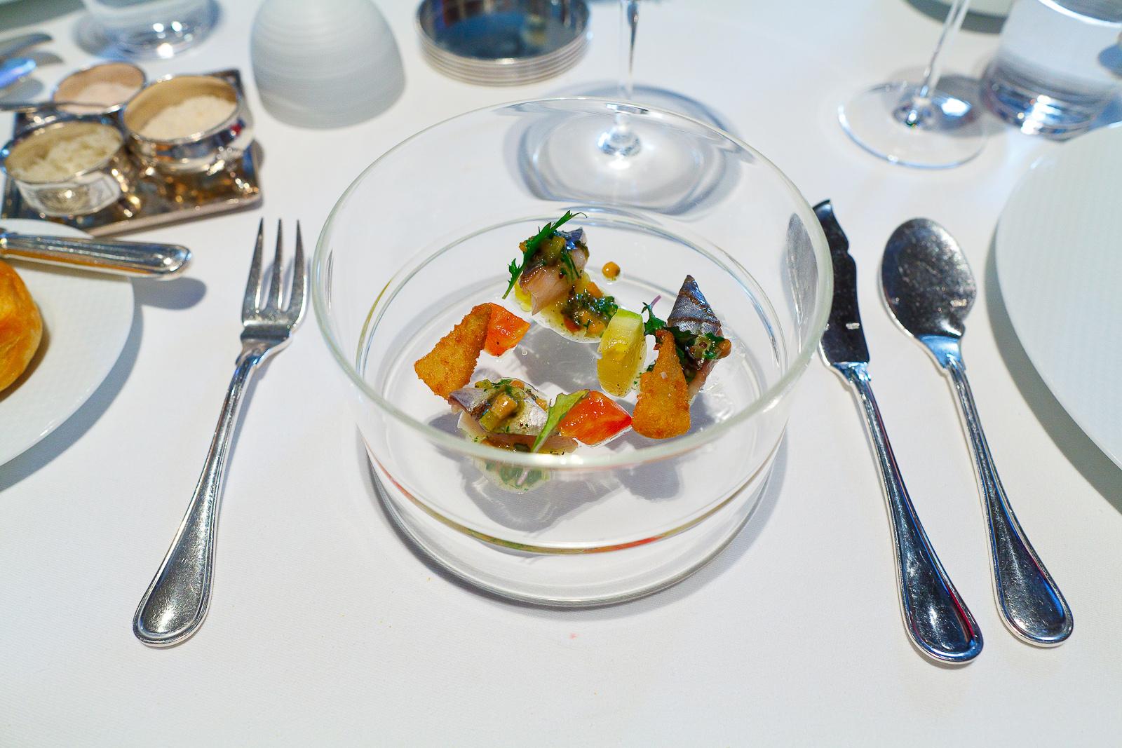 "4th Course: Spanish Mackerel ""En Escabèche,"" Heirloom Tomatoes, Crispy Artichokes, Mizuna and Pine Nut Vinaigrette"