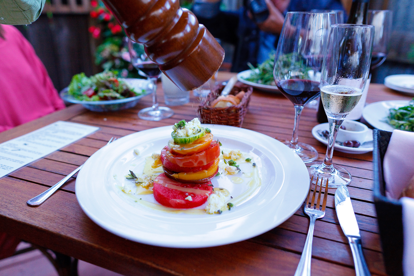 Heirloom tomato & watermelon salad, marinated feta, yellow tomato vinaigrette ($12)