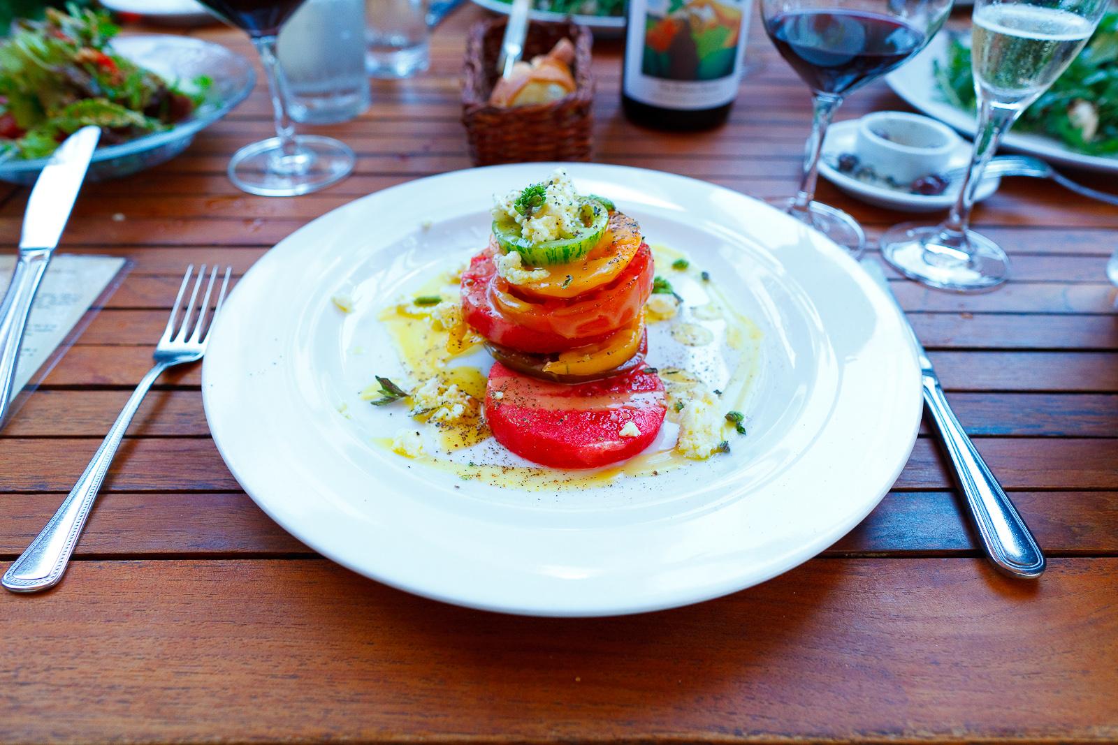 Heirloom summer tomato & watermelon saladmarinated feta, yellow tomato vinaigrette ($12)